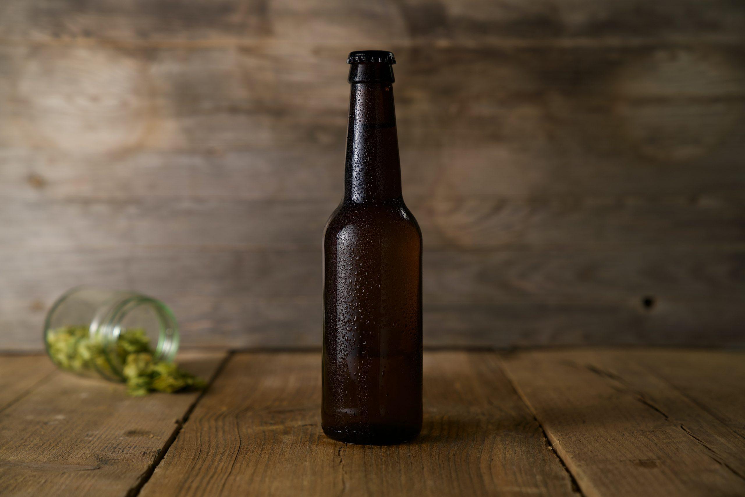 Home brewed beer in a bottle